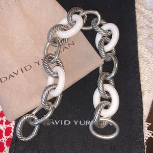 DAVID YURMAN White Oval Ceramic XL Link Bracelet